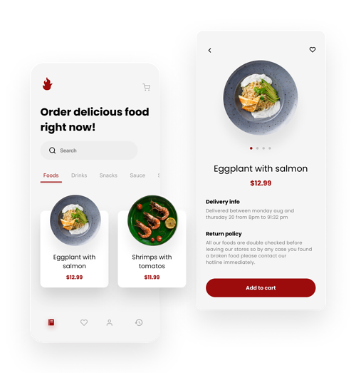 The example of food delivery app for restaurants